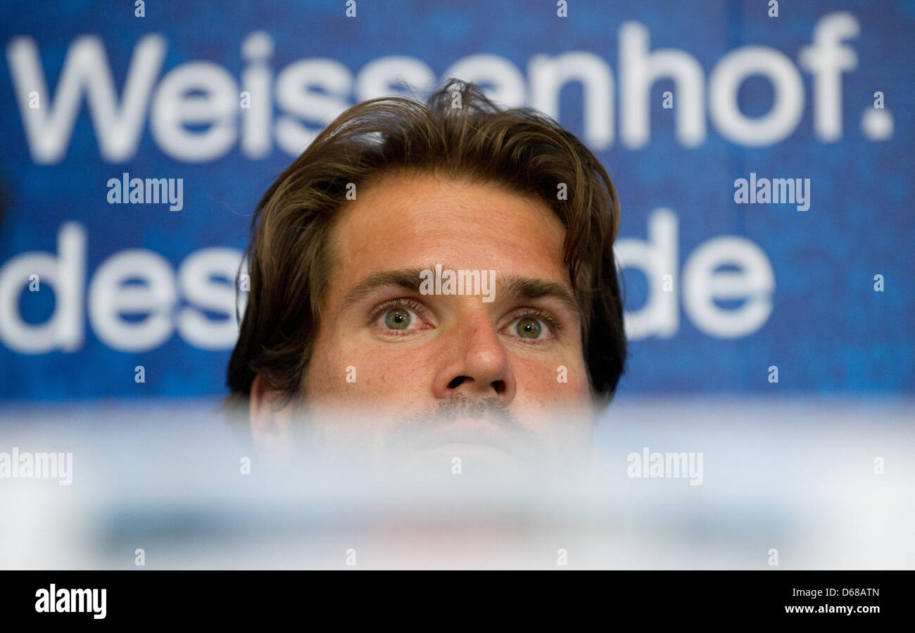 Serbian tennis pro Tommy Haas (Thomas Haas) gives a press conference during the  ATP tour in Stuttgart,Germany, - Stock Image