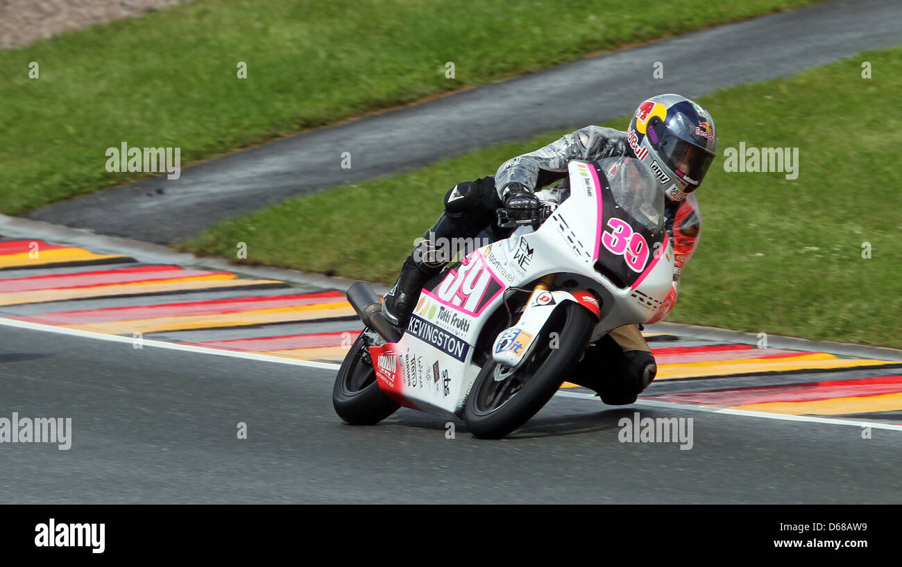 Spanish Luis Salom of Team RW Racing GP races in the German MotoGP at Sachsenring in Hohenstein-Ernstthal, Germany, - Stock Image