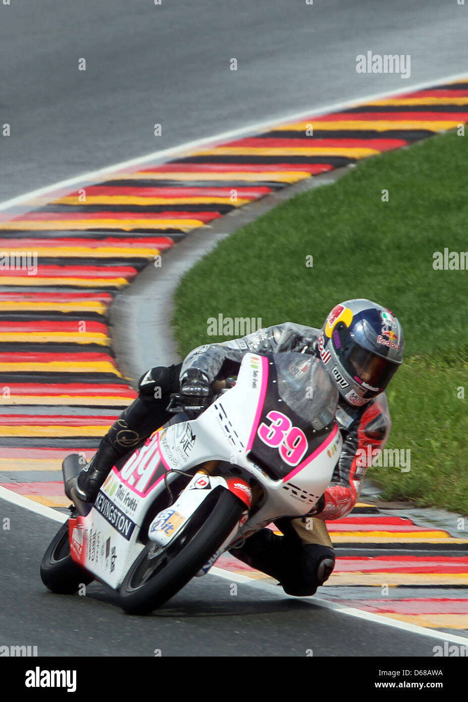 Spanish Luis Salom of Team RW Racing GP races in the German MotoGP at Sachsenring in Hohenstein-Ernstthal, Germany, Stock Photo