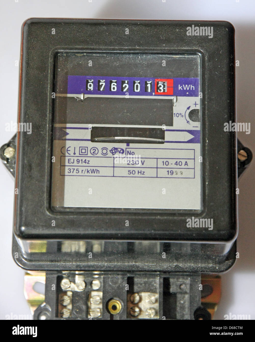 electrical energy meter for the detection of consumption - Stock Image