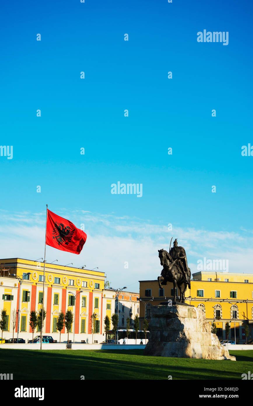 Europe, Albania, Tirana, Europe, Albania, Tirana, equestrian statue of Skanderbeg Stock Photo