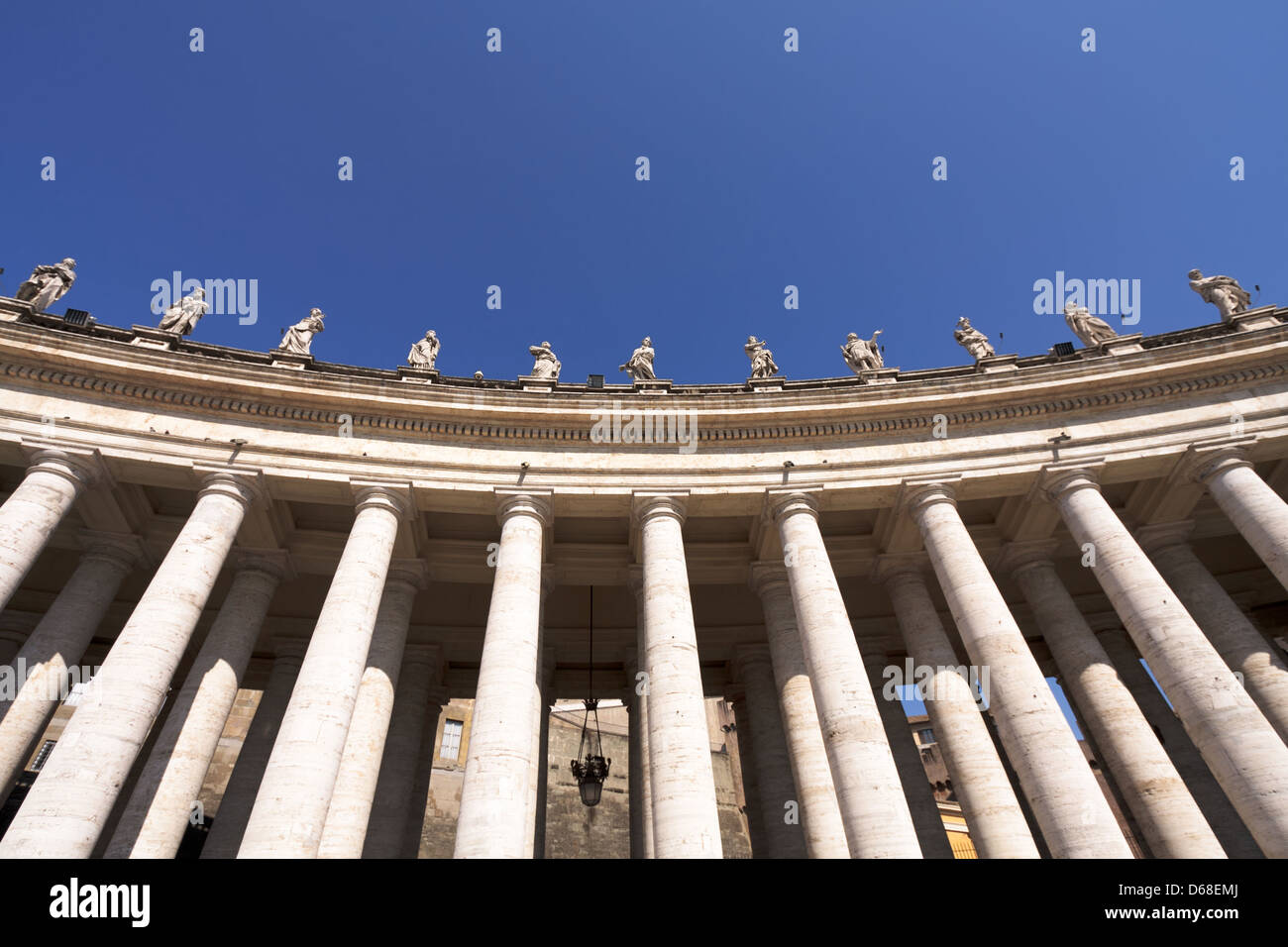 Statues of saints in the colonnade, Vatican - Stock Image