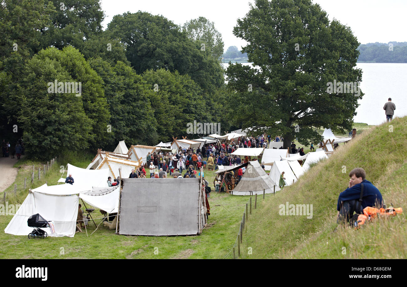 A re-enactment of happenings at a Viking market takes place during the event 'Kurs Haithabu' in Busdorf, - Stock Image