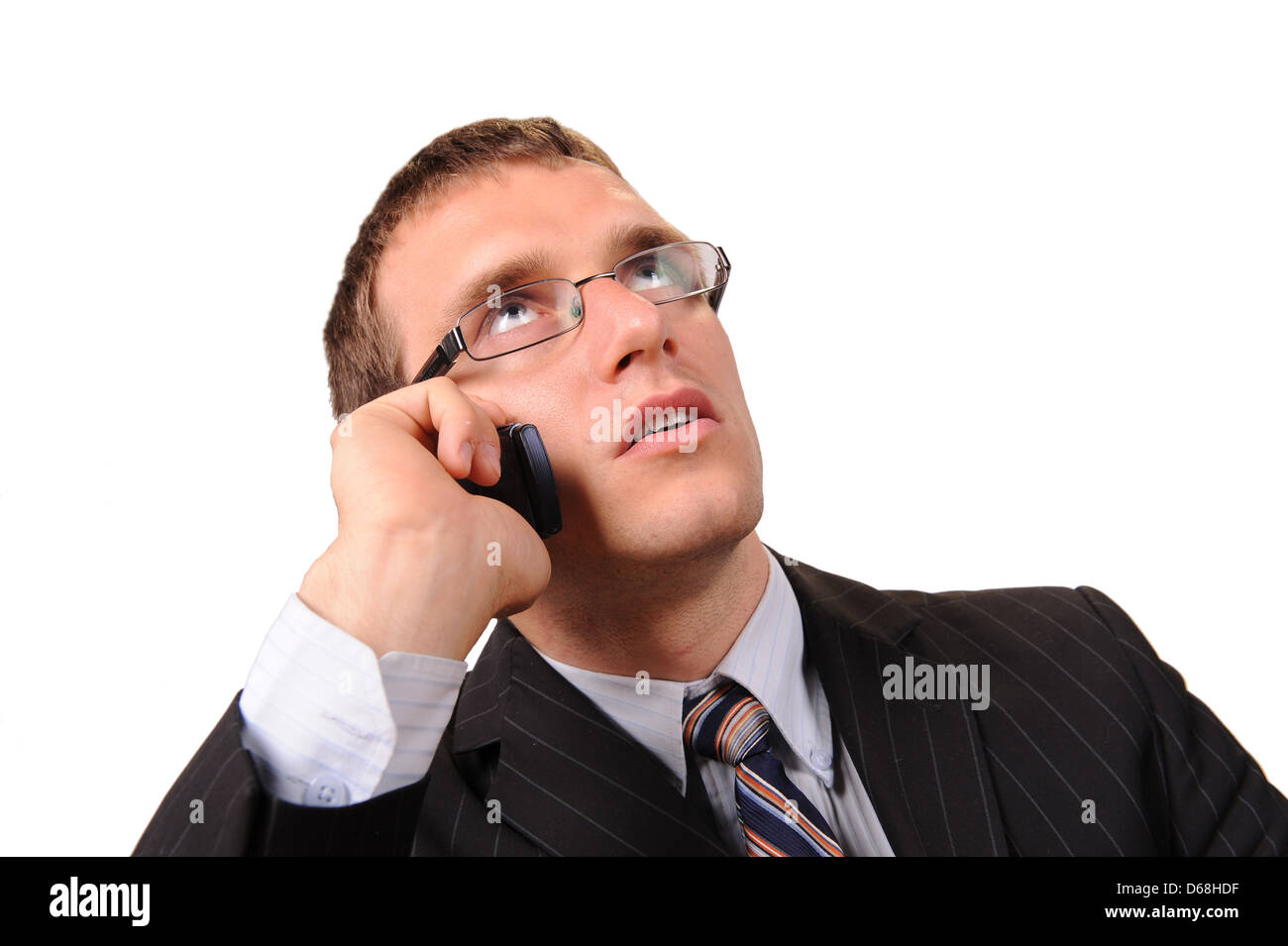 Making a business call on mobile - Stock Image