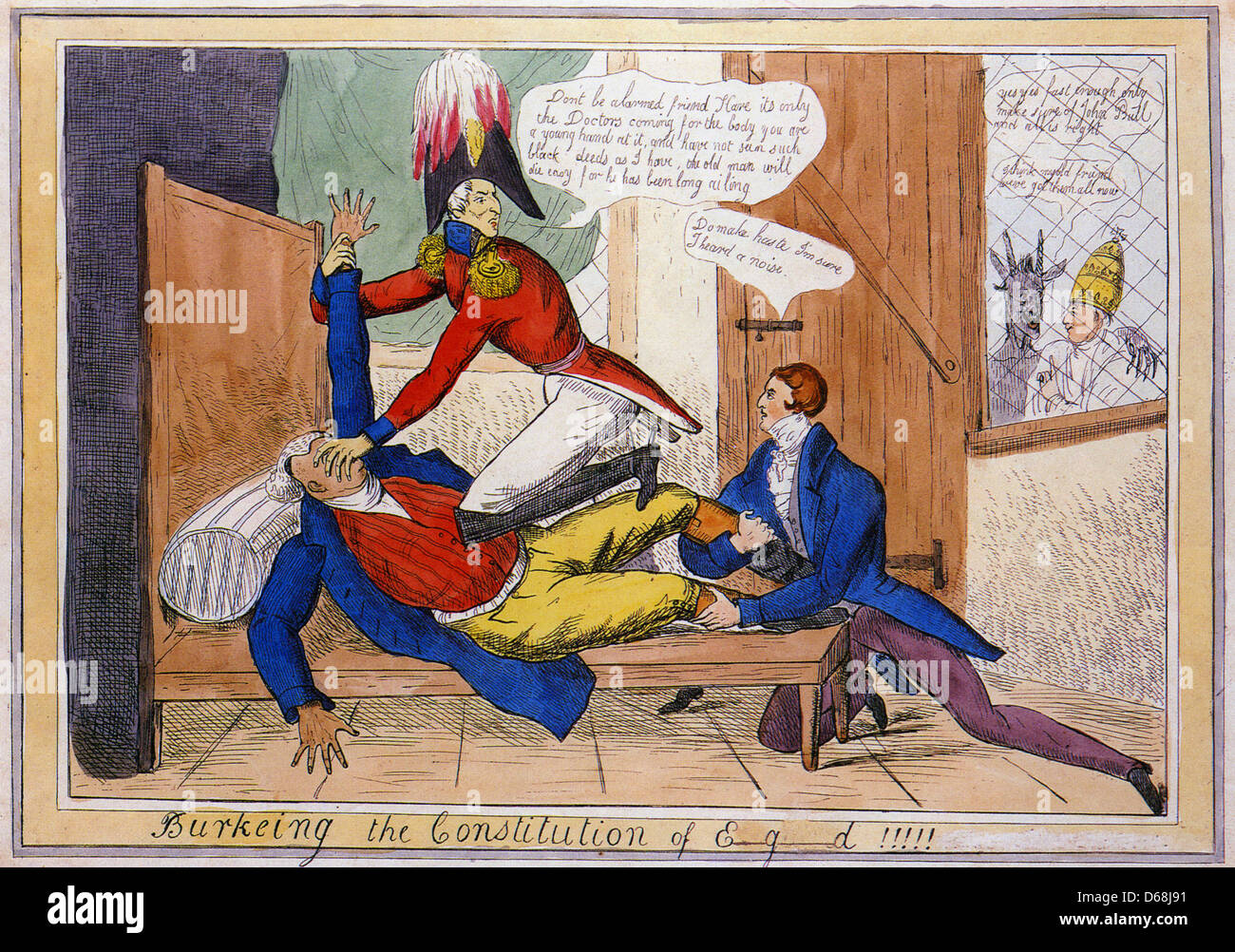 CATHOLIC EMANCIPATION Duke of  Wellington and Robert Peel murder John Bull watched with approval by Satan and  Pope - Stock Image