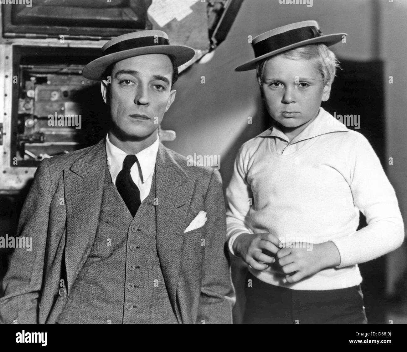 BUSTER KEATON US silent film star at left with Jackie Coogan - Stock Image eda84af460e