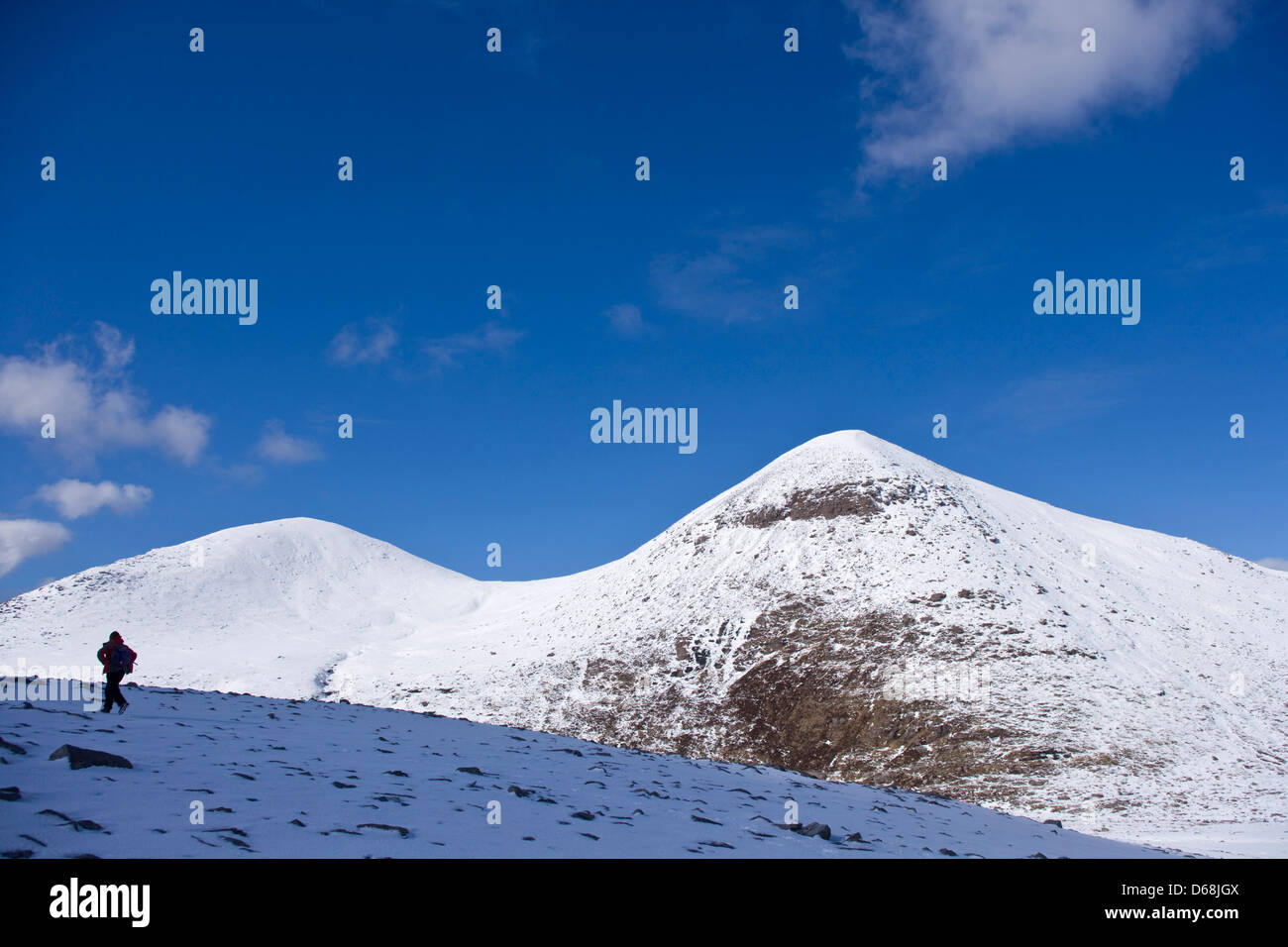 Walker heading up to Cul Mor. - Stock Image