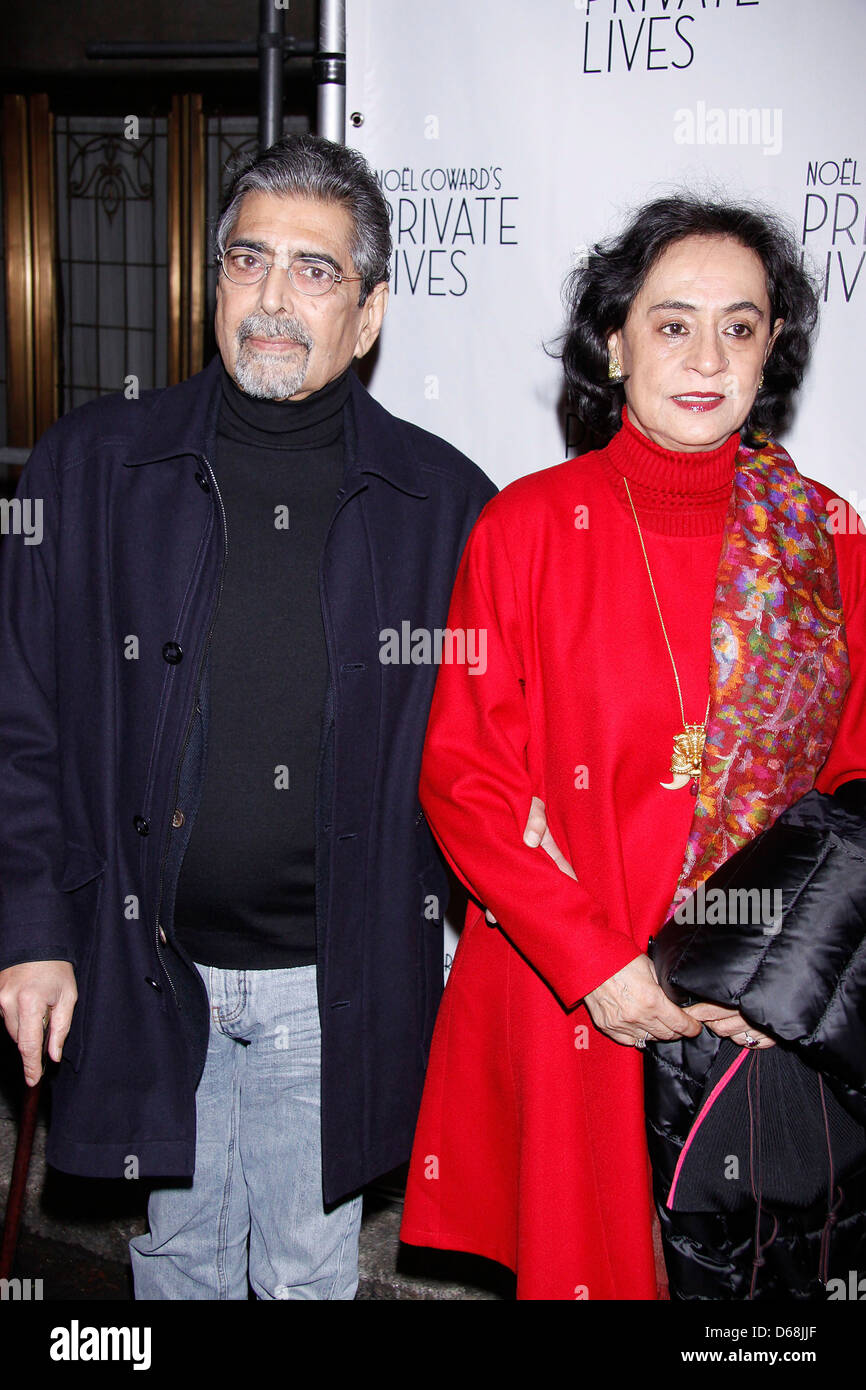 Sonny Mehta and Gita Mehta Broadway Opening night of 'Private Lives' at the Music Box Theatre - Arrivals. - Stock Image