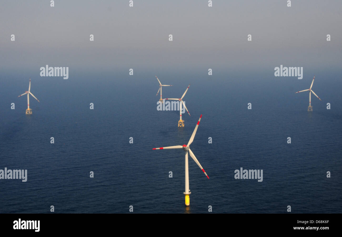 (FILE)An archive photo dated 23 May 2012 shows the offshore wind farm Alpha Ventus in the North Sea off the - Stock Image