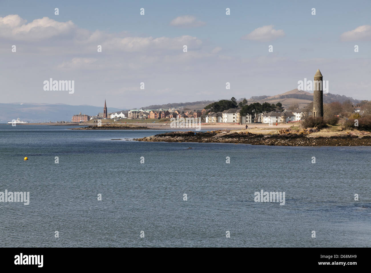 View North to the seaside town of Largs on the Firth of Clyde in Ayshire, Scotland, UK - Stock Image