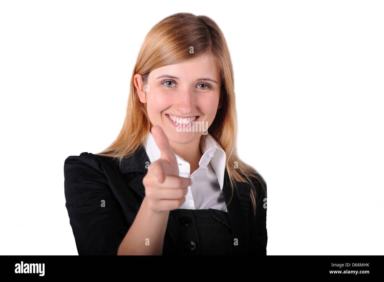 Business women pointing trigger finger - Stock Image