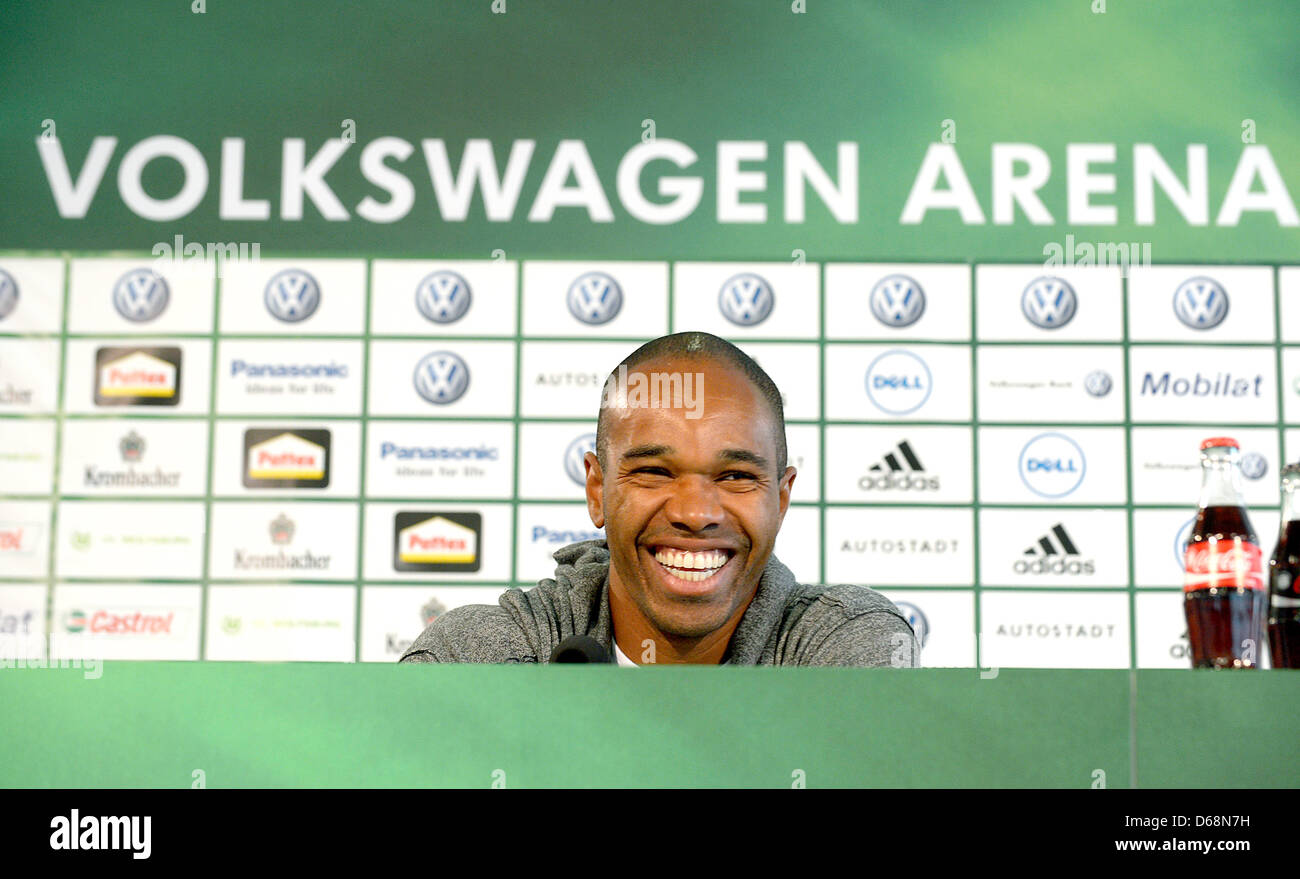 Wolfsburg's new player Naldo laughs during his presentation at a press conference in Wolfsburg, Germany, 19 July Stock Photo