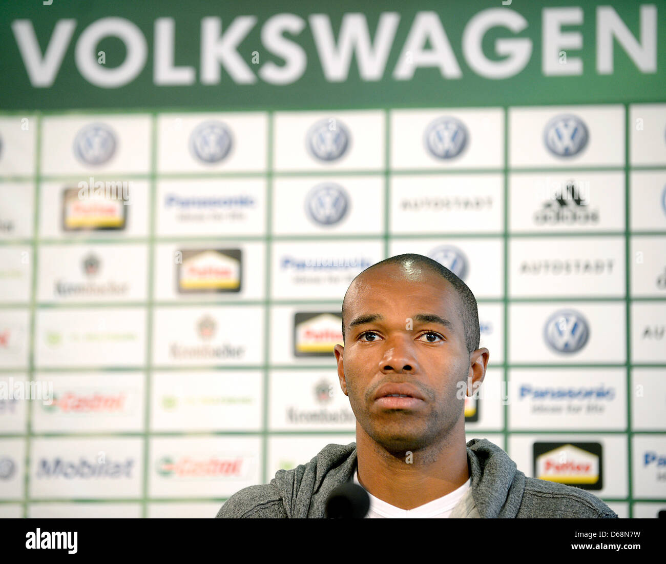 Wolfsburg's new player Naldo looks around at his presentation at a press conference in Wolfsburg, Germany, 19 July Stock Photo