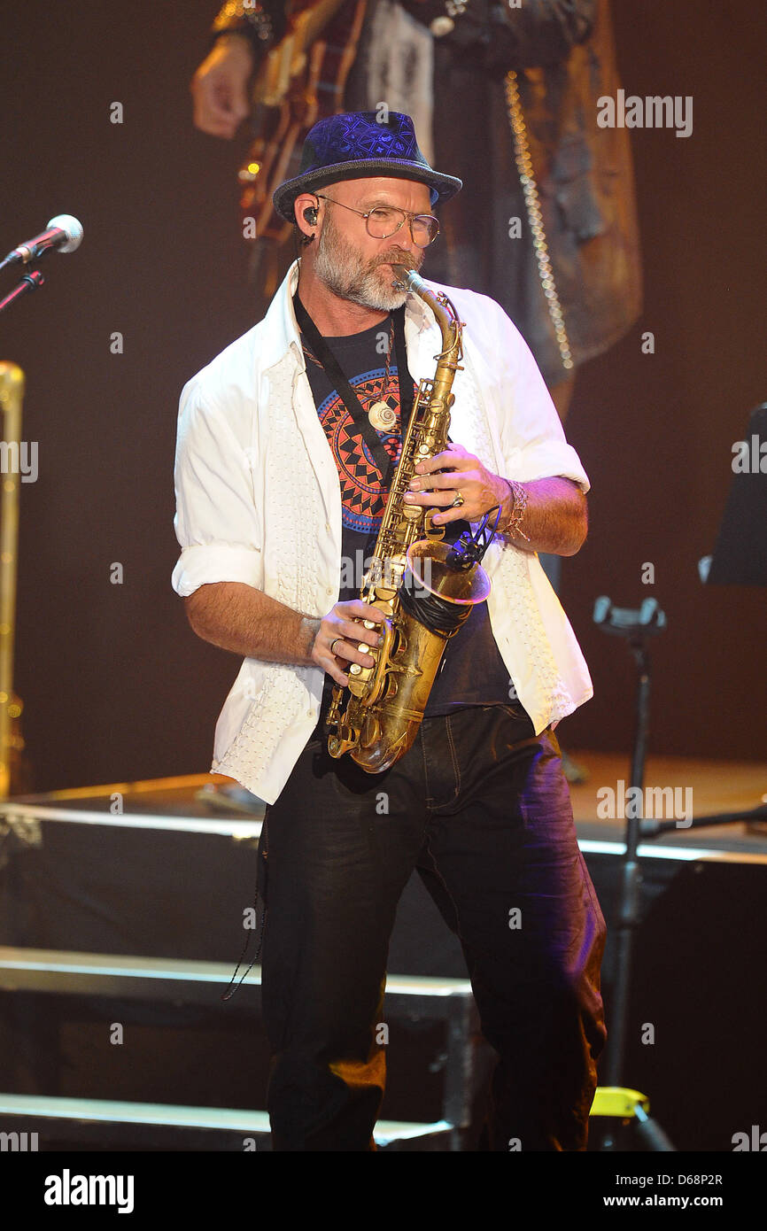 Saxophonist Todd Cooper performs on stage during The Alan Parsons Live Project tour 2012 at Circus Krone in Munich, Germany, 19 July 2012. Photo: Revierfoto Stock Photo