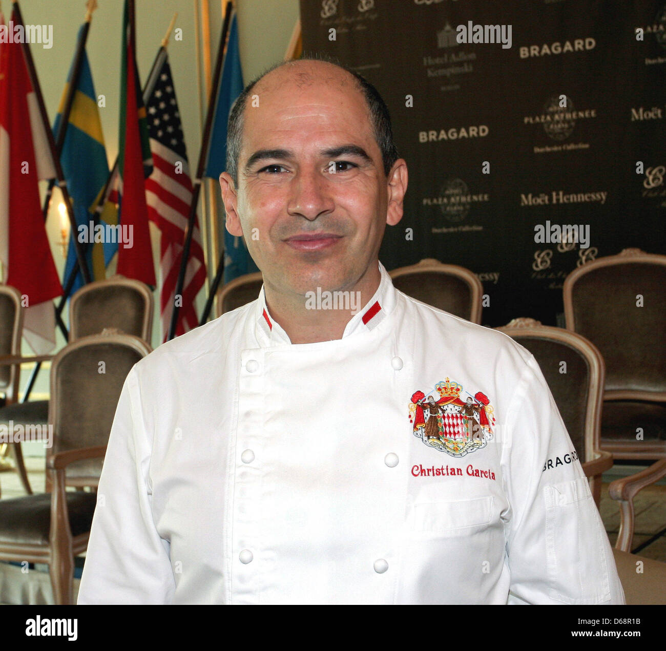 Monegasque top chef Christian Garcia poses in Hotel Adlon during the meeting of the 'Club des Chefs des Chefs' - Stock Image