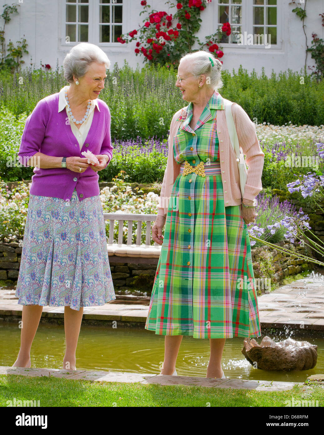 Queen Margrethe (R) and Princess Benedikte attend the annual photo session at Grasten Palace in Grasten, Denmark, - Stock Image