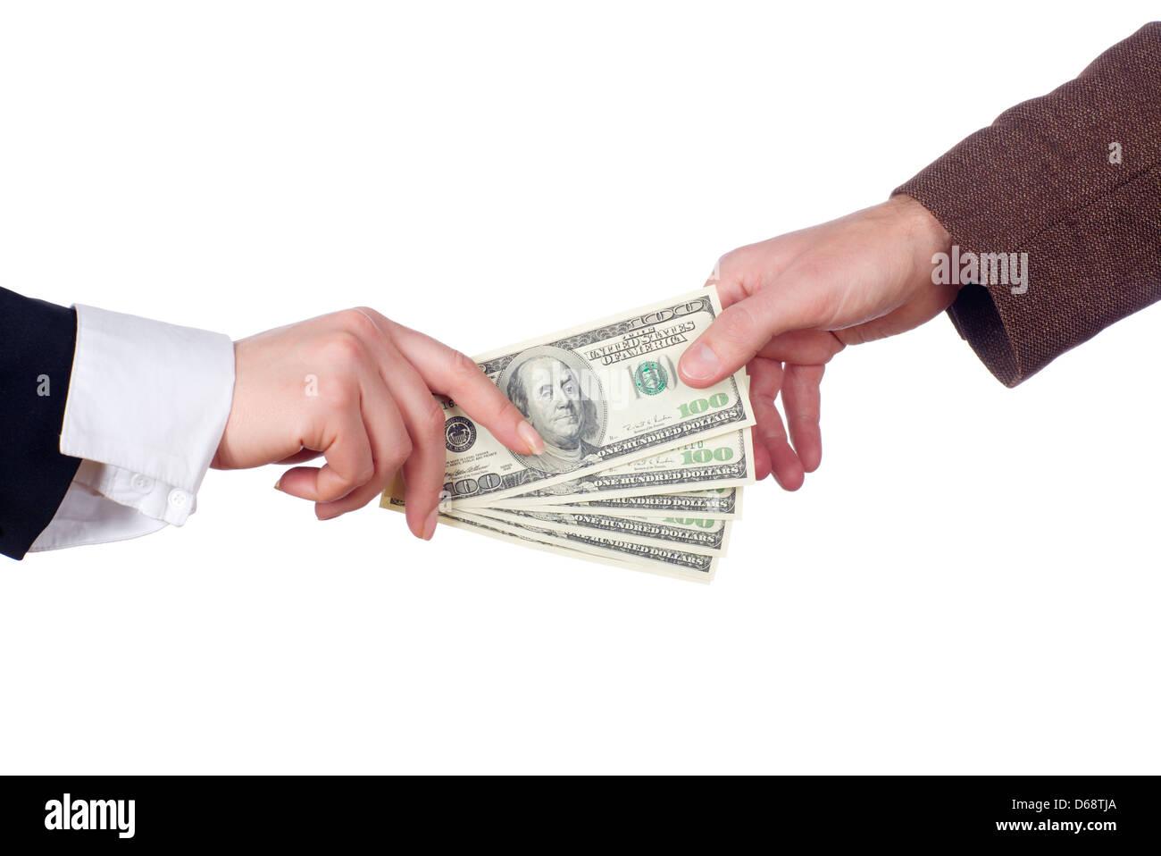 Business transaction. Isolated - Stock Image