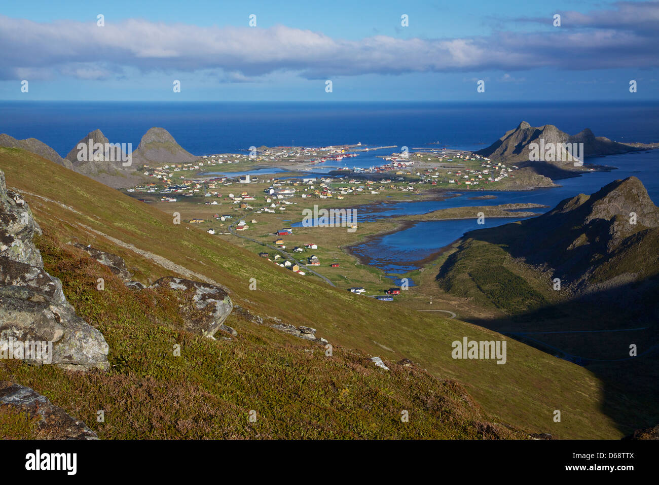 Scenic fishing port of Sorland on Lofoten islands in Norway during sunny summer day - Stock Image