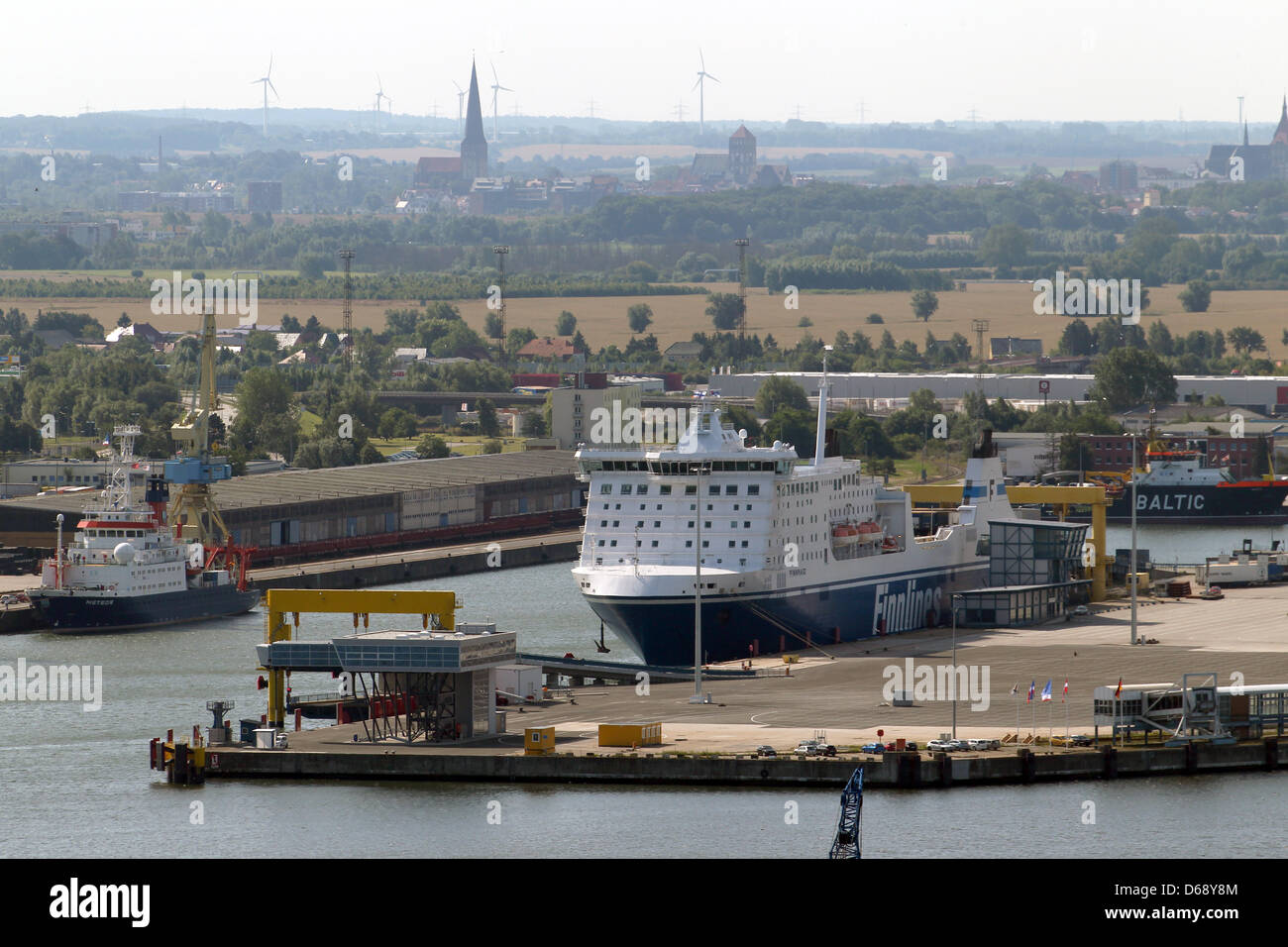 The ferry terminal with a Finnlines ferry is pictured at the port in Rostock,Germany, 23 July 2012.Photo: - Stock Image