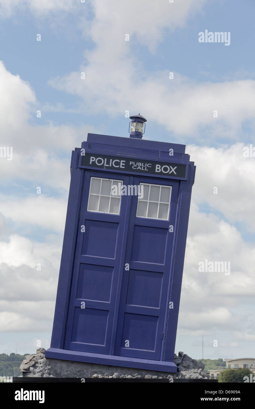 TARDIS, a fictional machine able to travel in time and space, on display outside the Doctor Who Experience at Cardiff - Stock Image