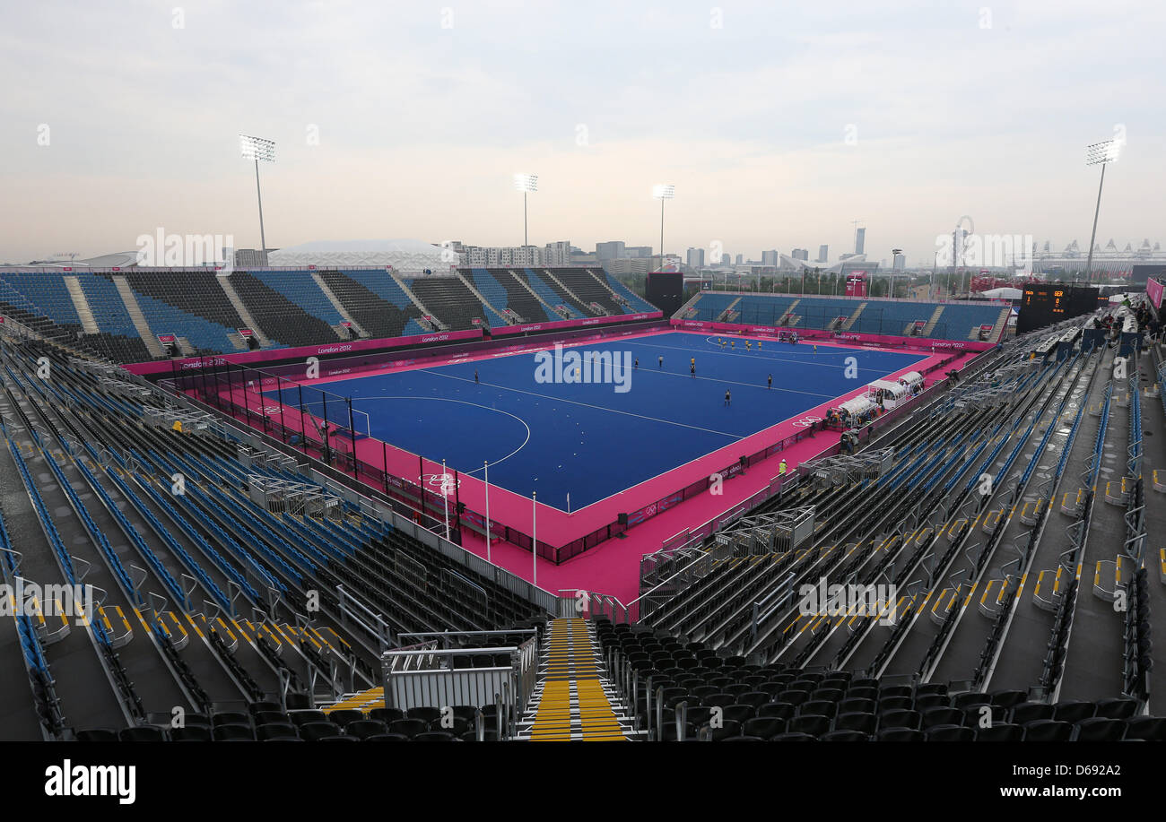 General view of the Hockey Arena during a test match in Riverside Arena at the London 2012 Olympic Games, London, - Stock Image