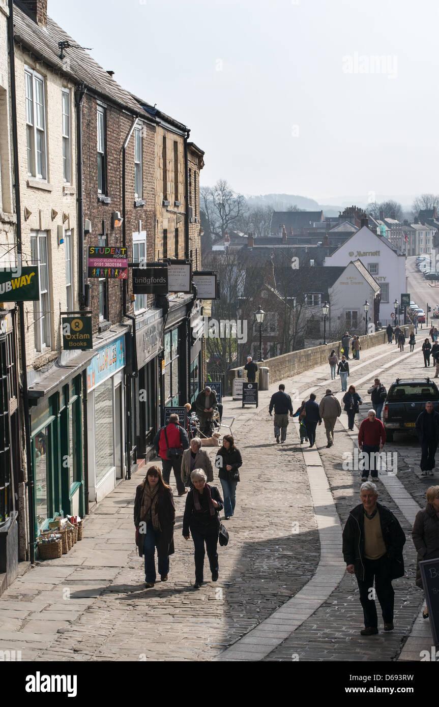 People walking along Elvet Bridge Durham city centre, north east England UK - Stock Image