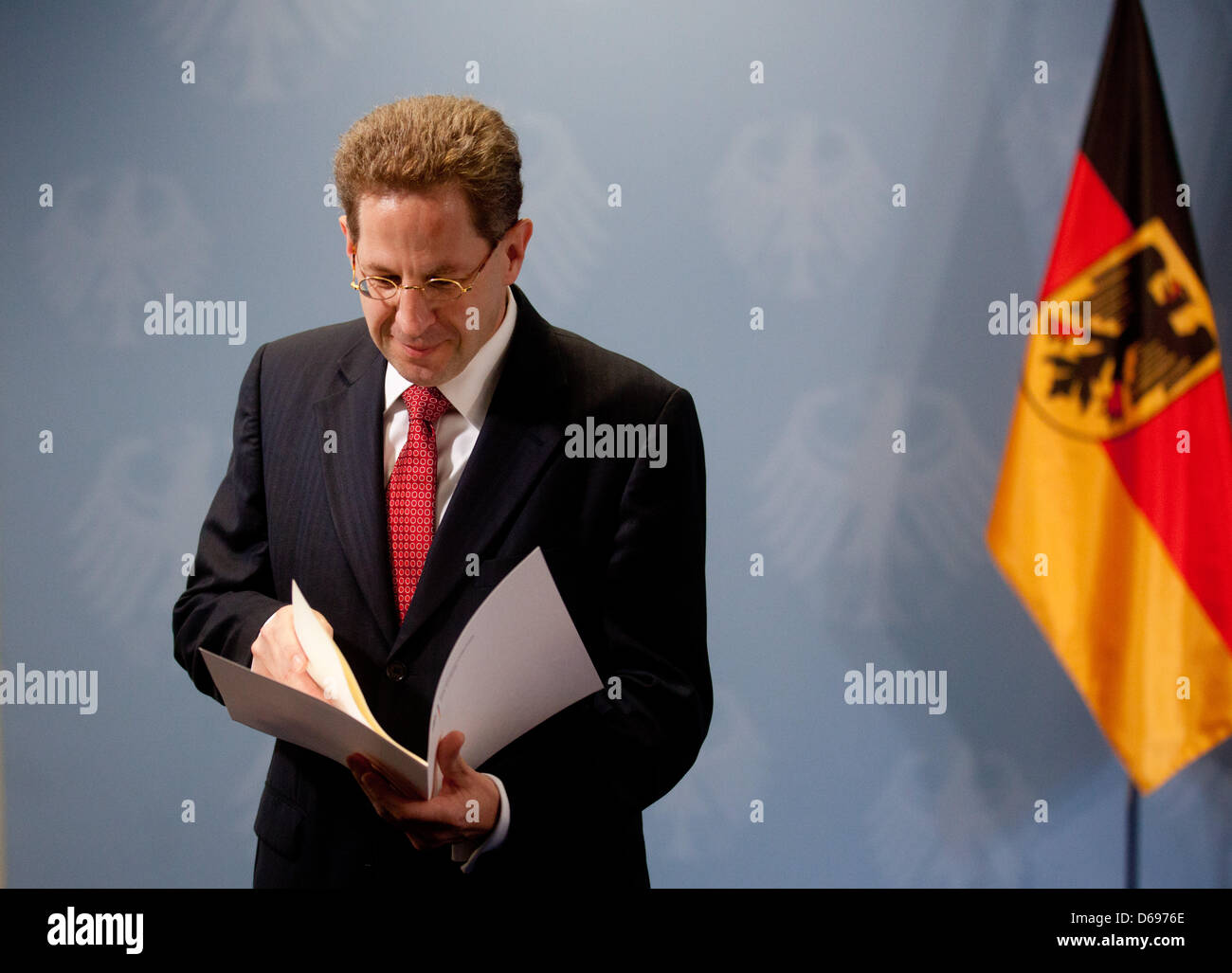 New President of the Federal Office for the Protection of the Constitution, Hans-Georg Maassen, puts his letter - Stock Image