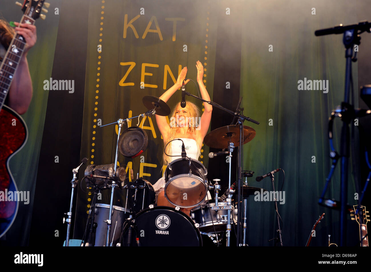 Solveig Heilo of the Norwegian  folk-rock band Katzenjammer performs on stage in Cologne, Germany, 22 June 2012. - Stock Image