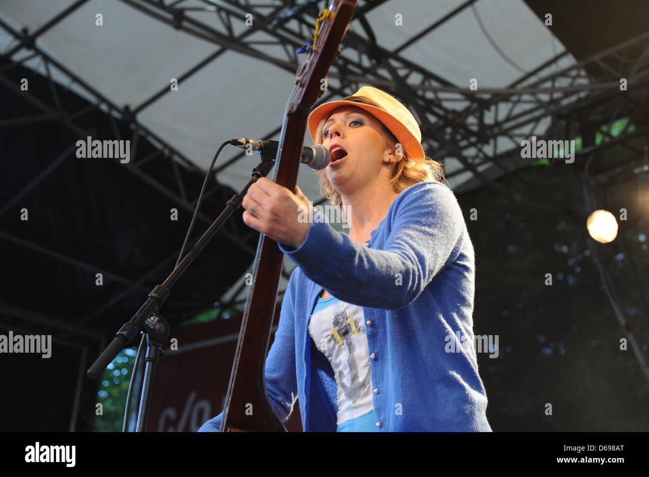 Turid Jorgensen of the Norwegian  folk-rock band Katzenjammer performs on stage in Cologne, Germany, 22 June 2012. - Stock Image