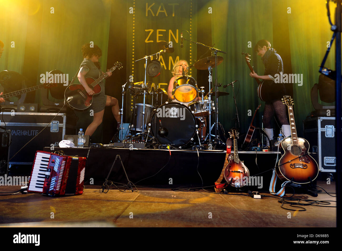 The Norwegian folk-rock band Katzenjammer performs on stage in Cologne, Germany, 22 June 2012. Photo: Jan Knoff - Stock Image