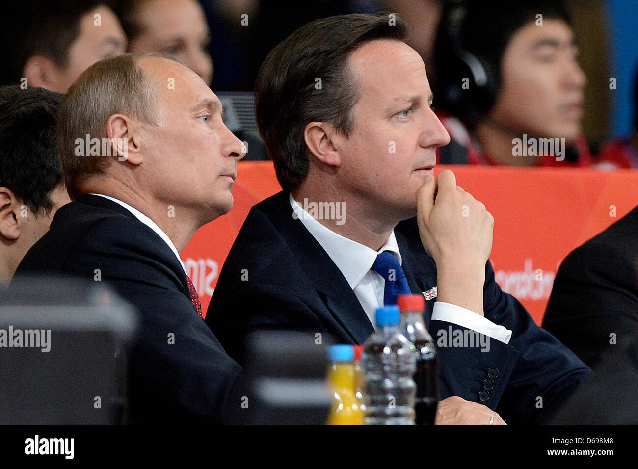 Russian President Vladimir Putin (L) and british President David Cameron attend the London 2012 Olympic Games Judo Stock Photo