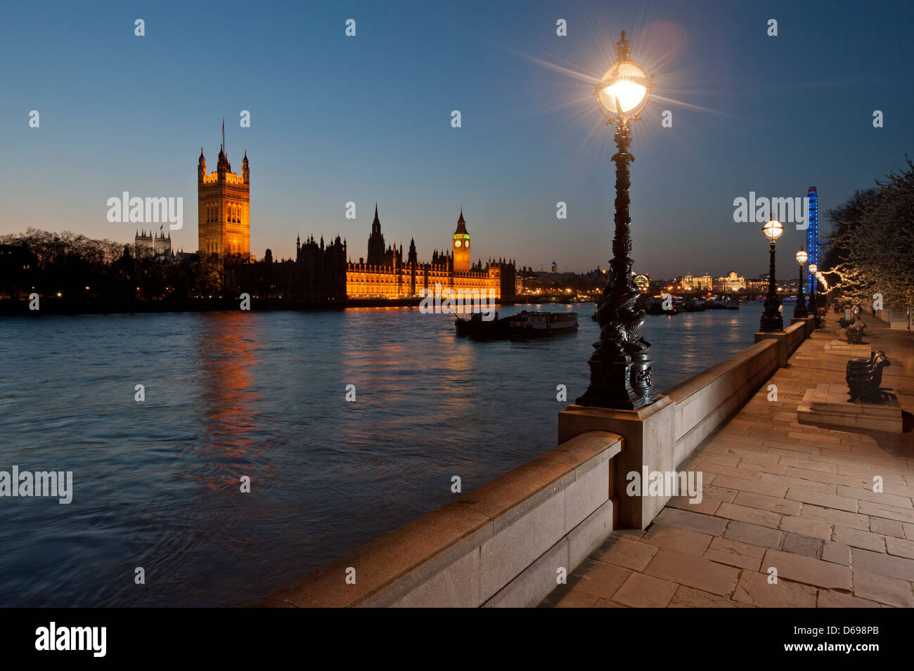 Houses of Parliament on the north bank of the River Thames as seen from the south bank, near Lambeth Bridge. With Stock Photo
