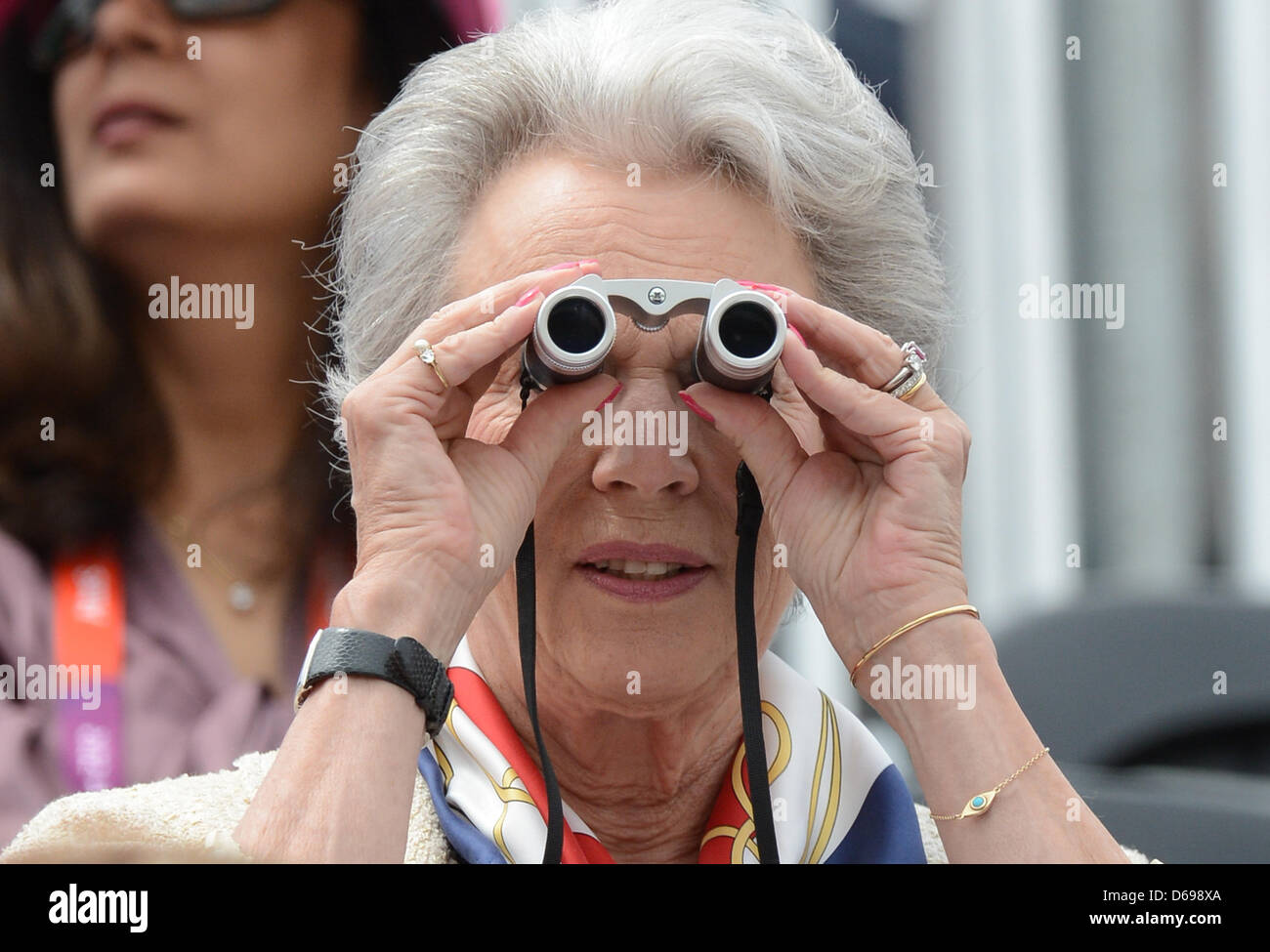 Princess Benedikte of Denmark watches the competition at the London 2012 olympic dressage at Greenwich Park in London, - Stock Image