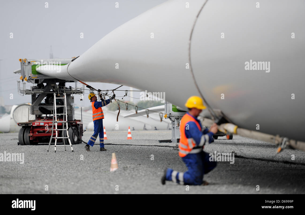 Workers prepare the longest rotor blade with 75 meters for the transport from Esbjerg to  Osterild, Denmark, 01 - Stock Image