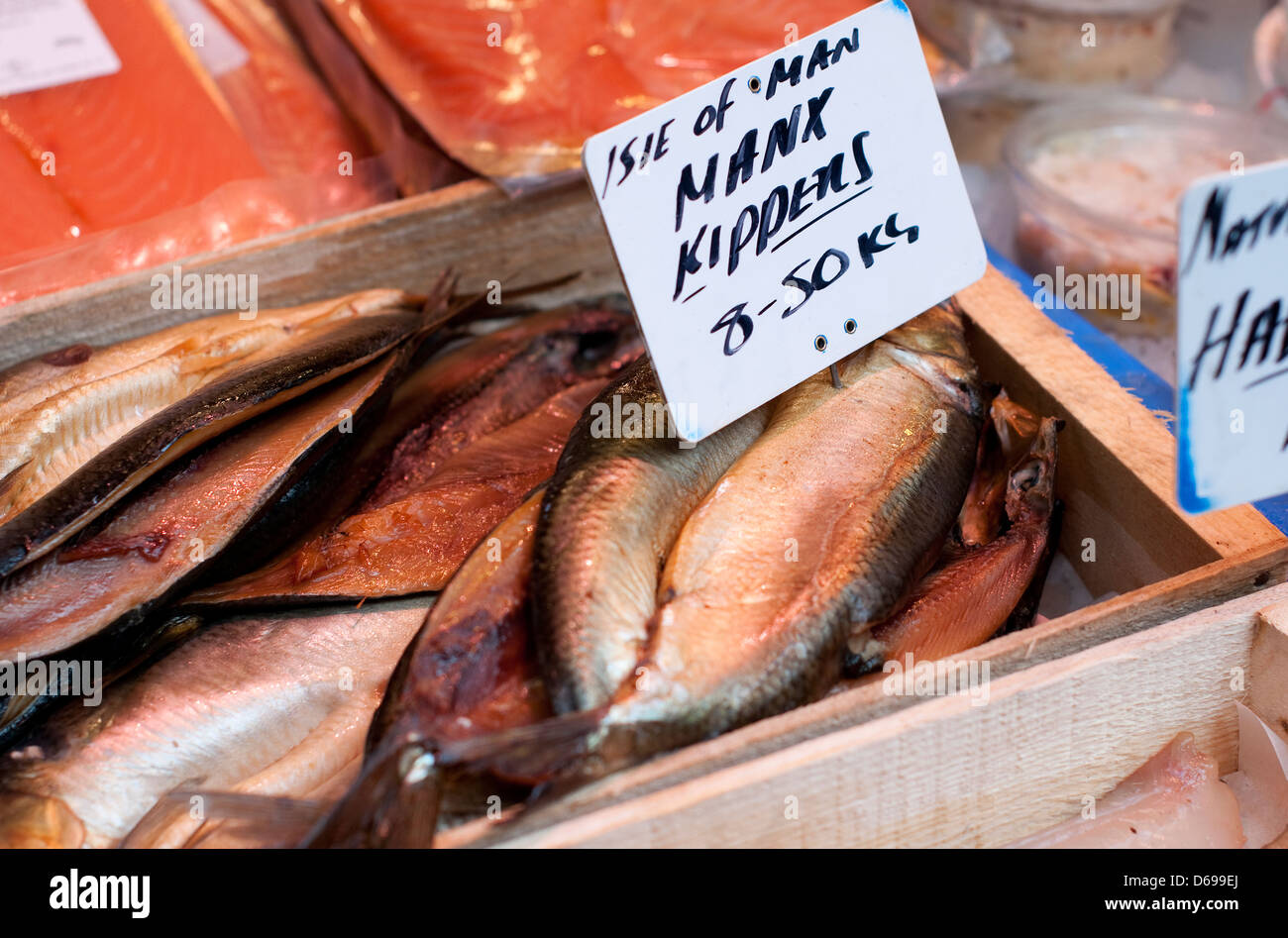 manx kippers in wooden box - Stock Image