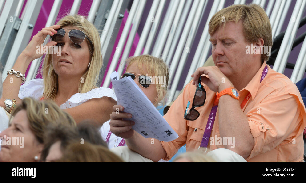 Prince Willem-Alexander of the Netherlands and his wife Maxima during the London 2012 Olympic Games dressage competition Stock Photo