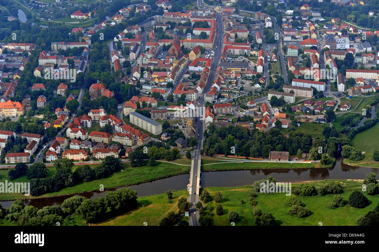 The river Mulde traversing Eilenburg, Germany, 26July 2012. Ten years after the 'flood of the century' - Stock Image