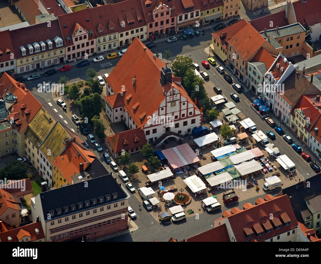 Aerial view of the market outside city hall in Grimma, Germany, 26July 2012. Ten years after the 'flood - Stock Image