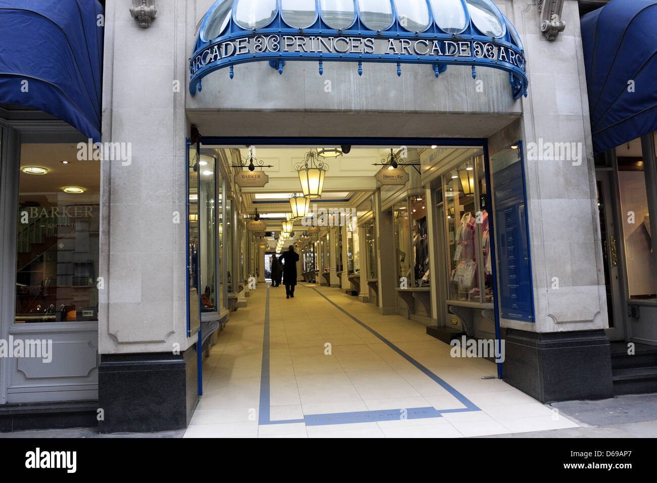 High end retail in what is Princes Arcade,situated and seen here from the Jermyn Street end of the arcade. - Stock Image