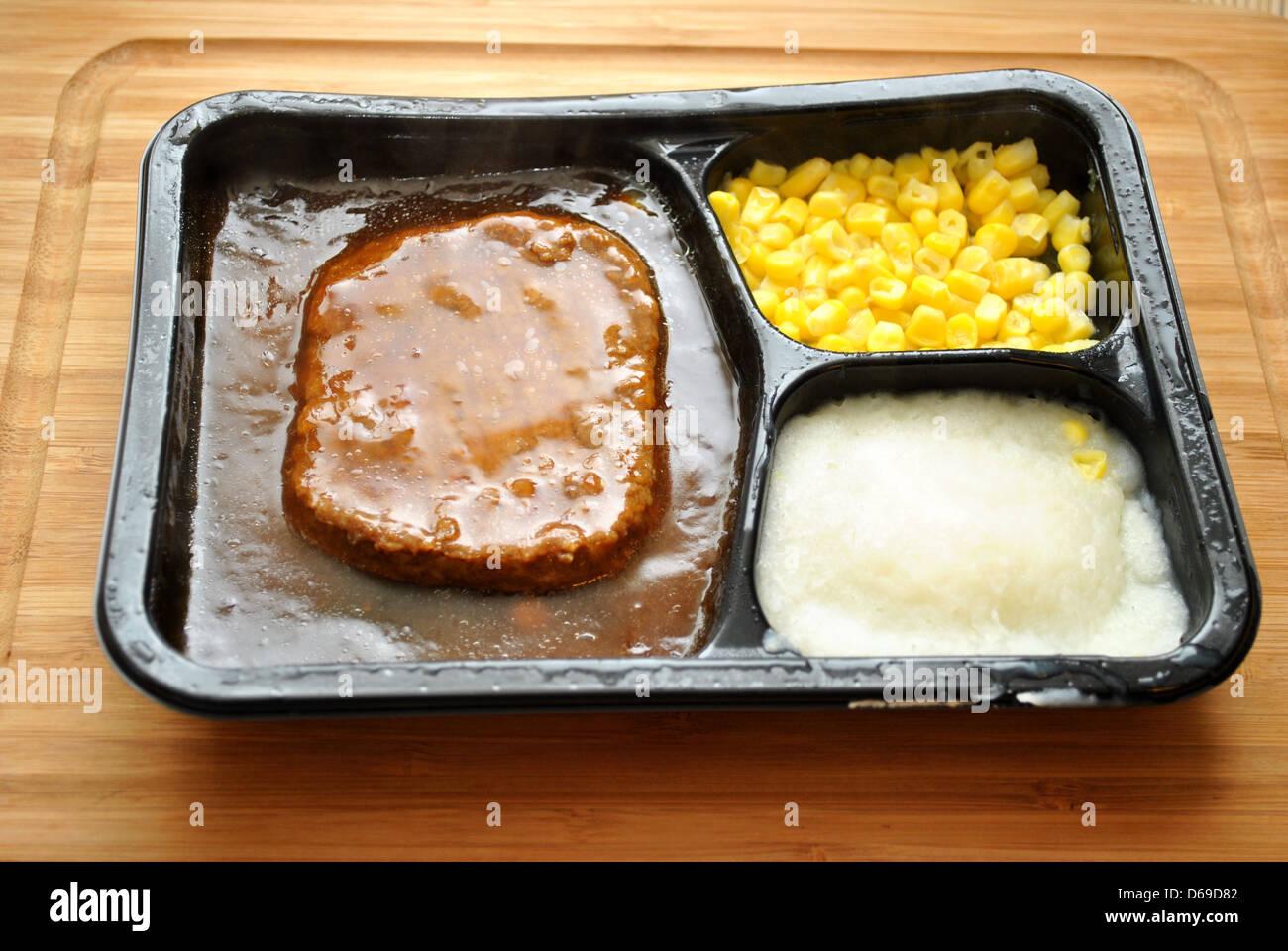 Salisbury Steak TV Dinner with Corn and Potatoes - Stock Image