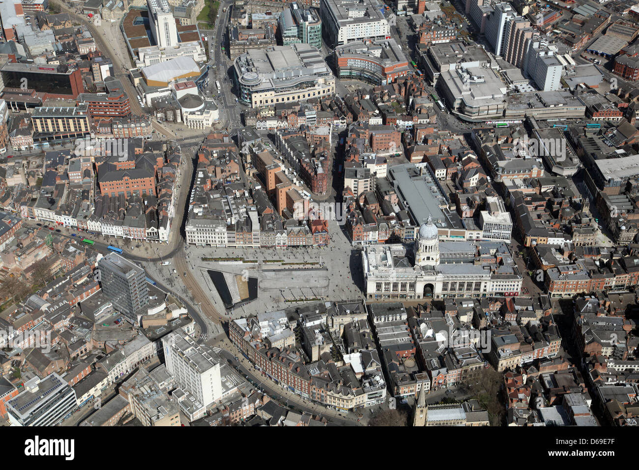 aerial view of Nottingham city centre, Nottingham Town Hall - Stock Image