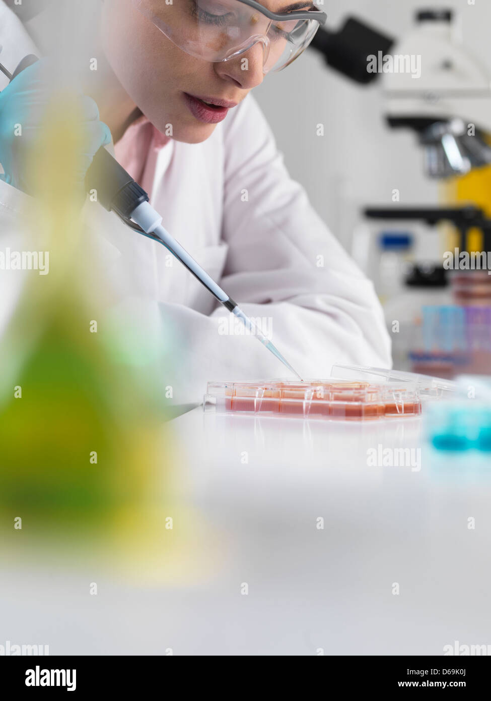 Scientist pipetting stem cells in tubes - Stock Image