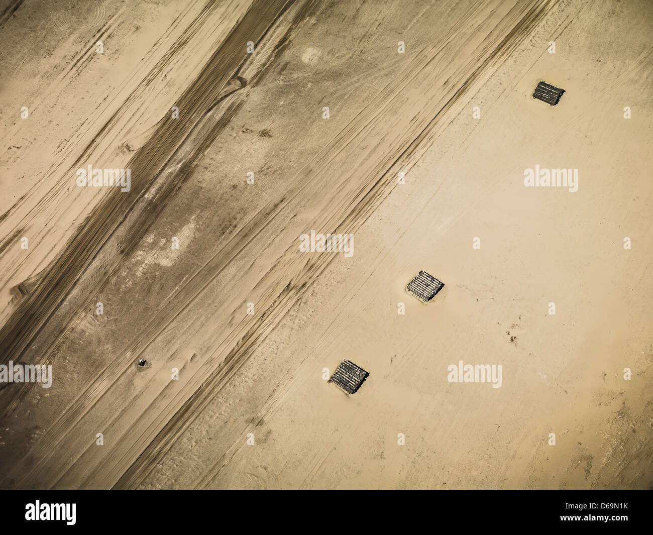 Aerial view of strip coal mining field - Stock Image