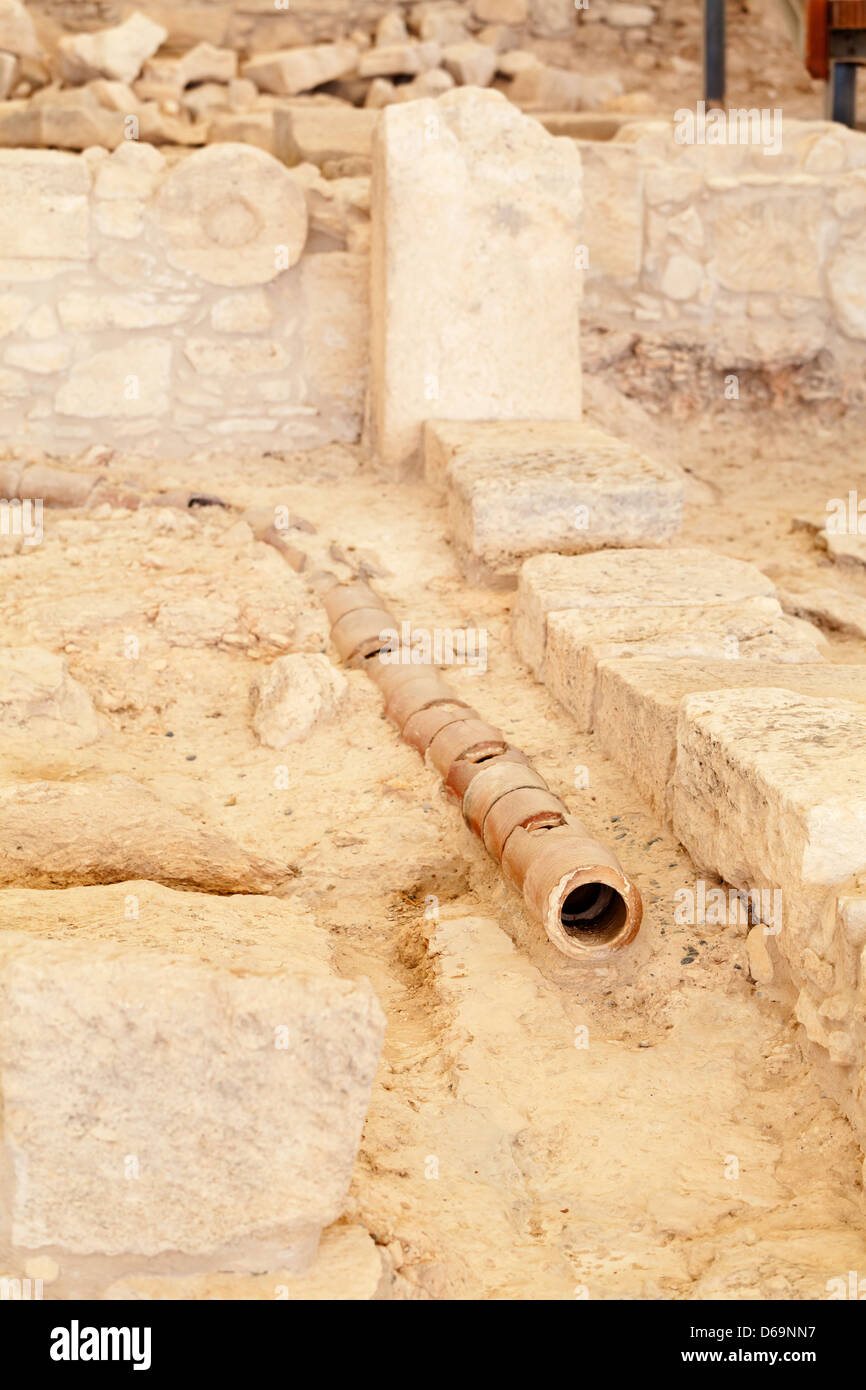 Cyprus - Drainpipe at the House of Eustolios at the Kourion archaeological site - Stock Image