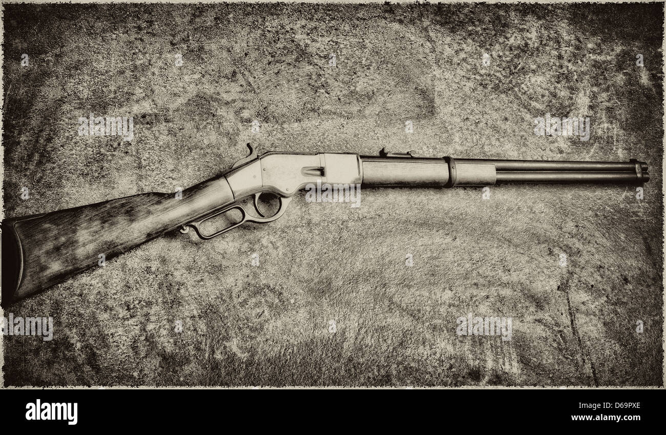 Rifle on textured background - Stock Image