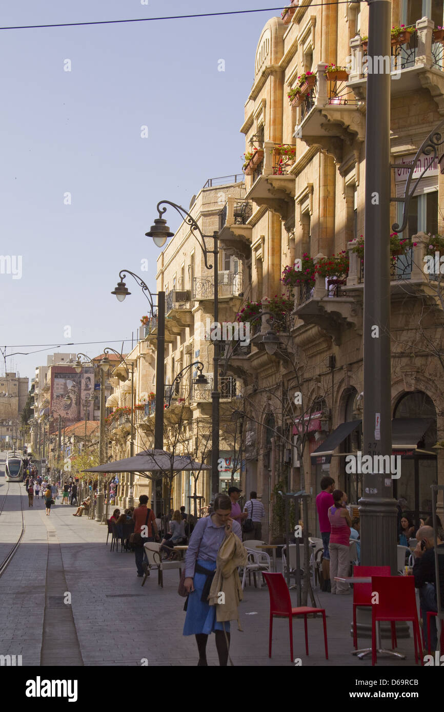 JERUSALEM - March 29,2013:Jaffa Road is one of the longest and oldest roads in the city , it is now closed to vehicular - Stock Image