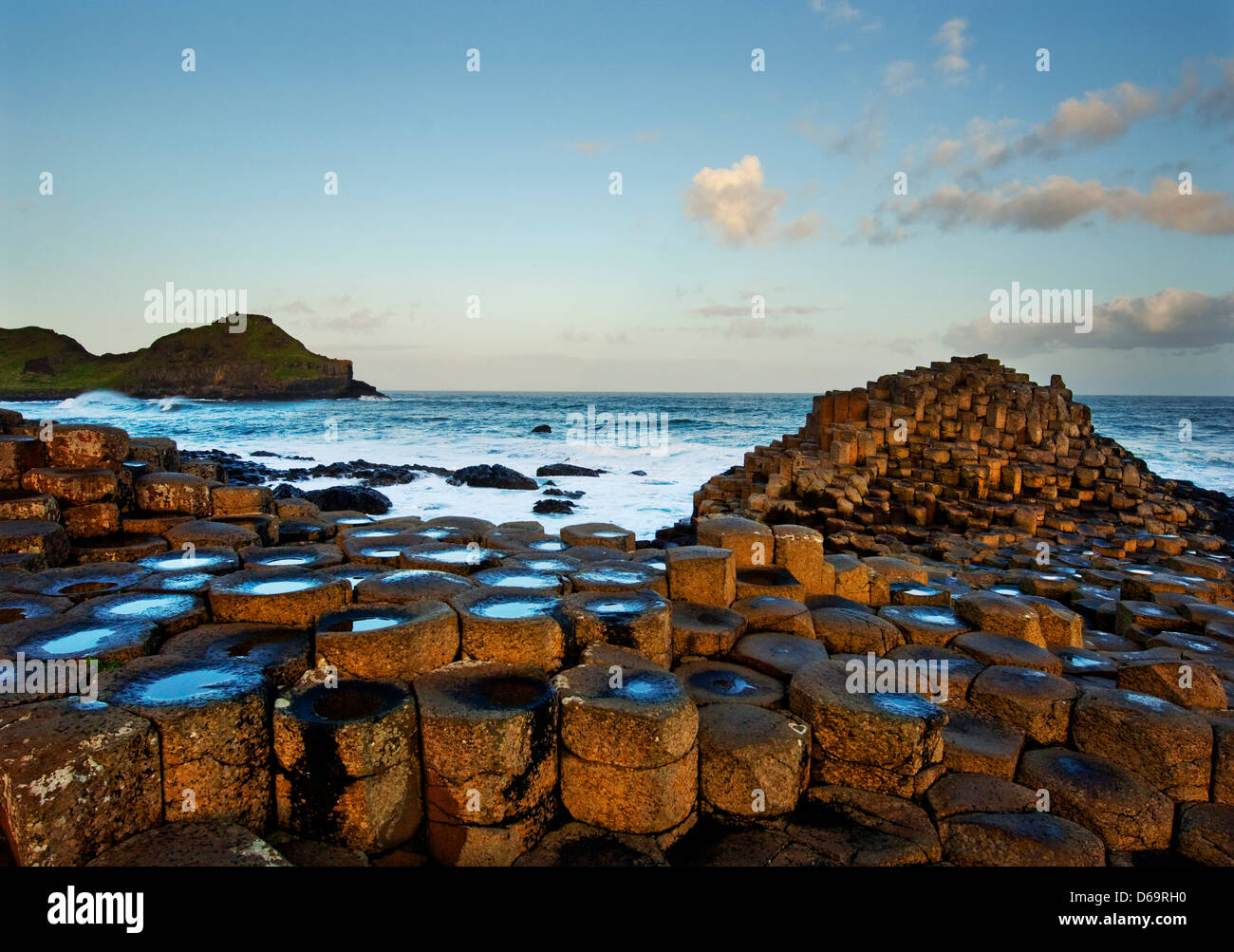 Rock formations in Giant?s Causeway, Antrim, Northern Ireland - Stock Image