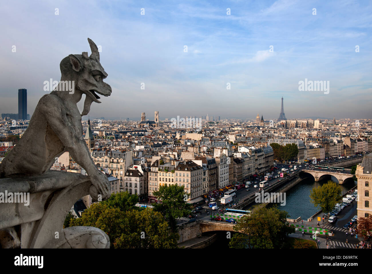 Notre Dame gargoyle overlooking Paris - Stock Image