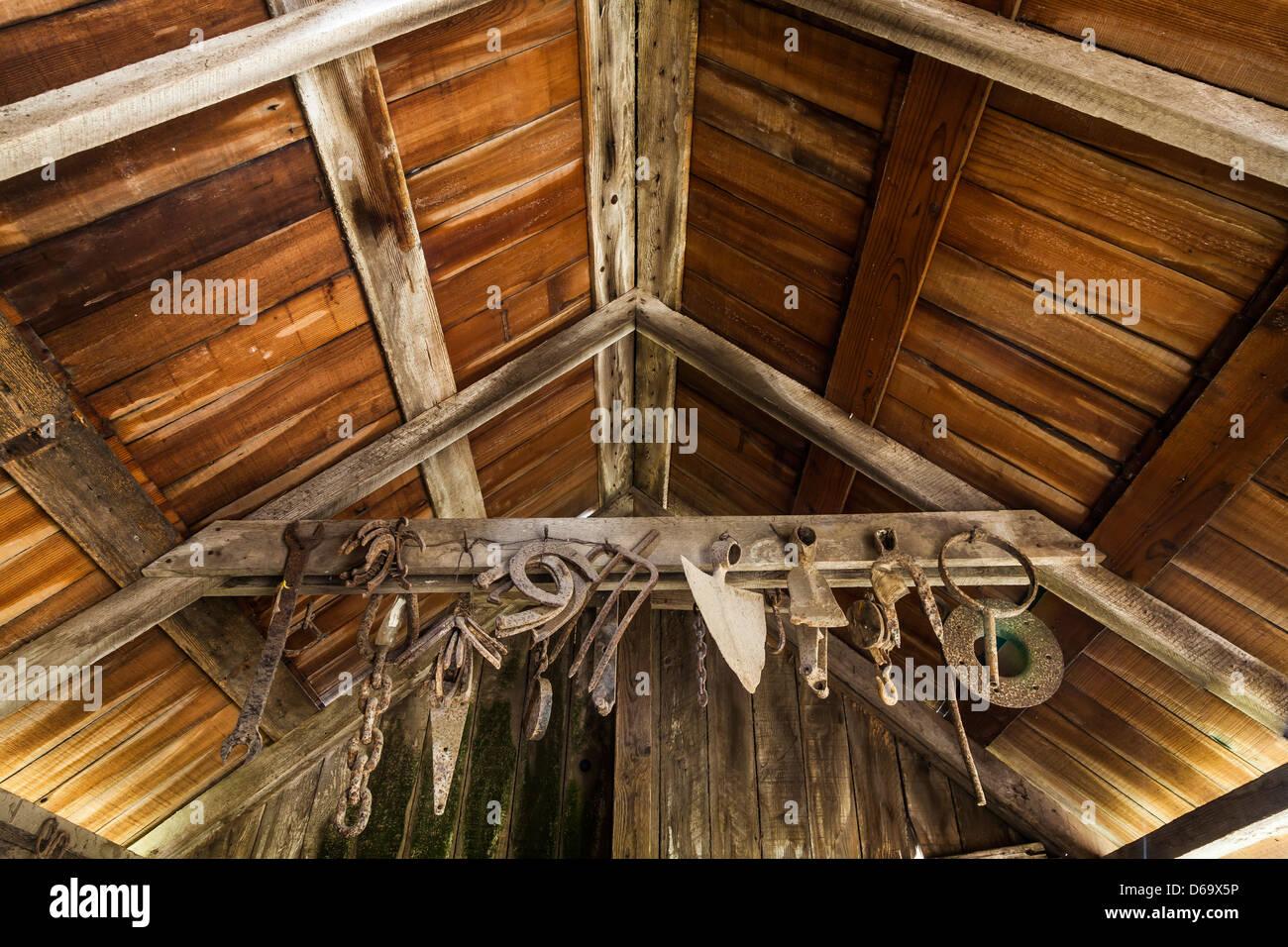 Blacksmith shop for Scorpion Ranch on Santa Cruz Island, now part of historic exhibit, Channel Islands National - Stock Image