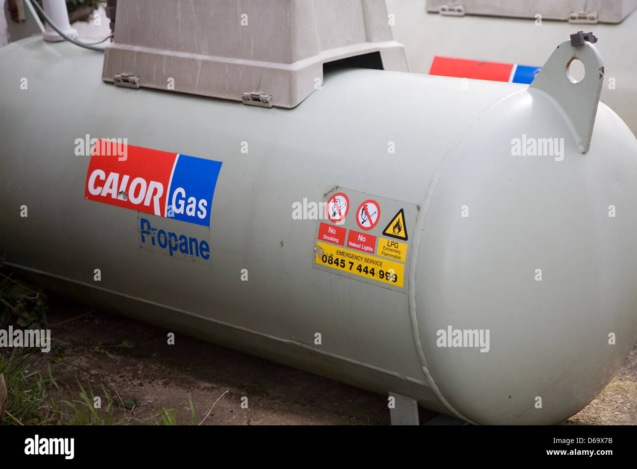 Calor gas propane cylinder for domestic fuel, UK - Stock Image